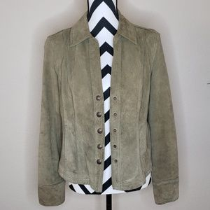 Green Sueded Leather Jacket w/ Snaps